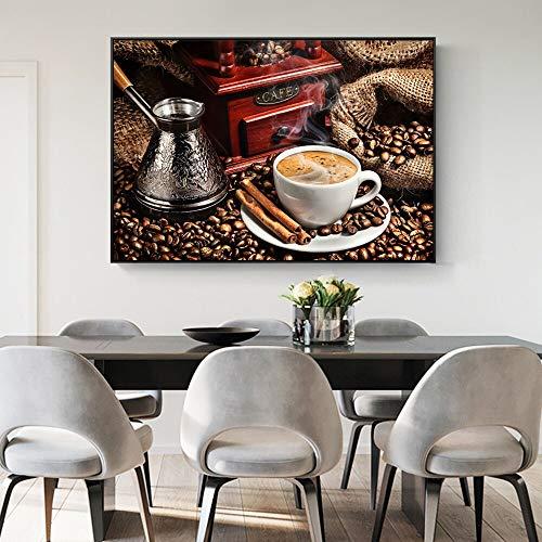 Kaffee Milch Kaffee Bohnen Wandkunst Leinwand Retro Leinwand Malerei Dekoration Restaurant Wandbild rahmenlose Malerei 20cmX30cm