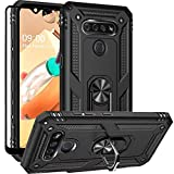 Dretal for LG K51 Case, LG Reflect Case, LG Q51 Case with Tempered Glass Screen Protector, Military Grade Shockproof Protective Case Cover with Rotating Holder Kickstand (Black)