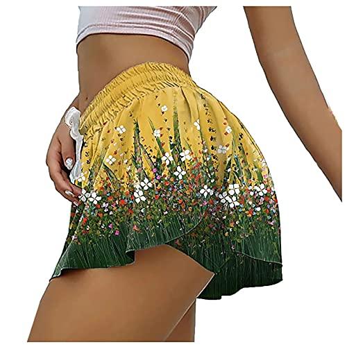Junjie Culottes de Estampado con Cordón para Mujer Pantalones Cortos Deportivos Fitness Shorts de Deporte Absorbentes y Transpirables Pantalón Cortos Mujer Suave y Cómodo Pantalones Cortos de Yoga