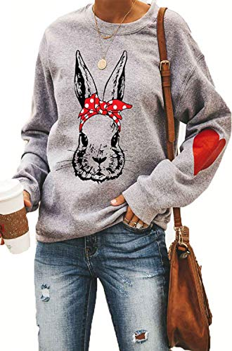 Easter Rabbit Tops for Women Pullvoer Promise keeper My God Long Sleeve Shirts