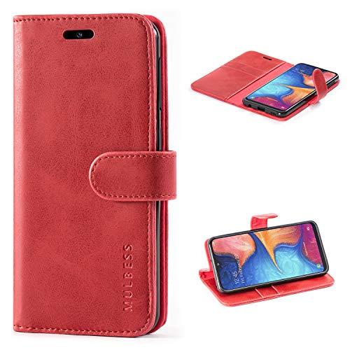 Mulbess Handyhülle für Samsung Galaxy A20e Hülle, Leder Flip Hülle Schutzhülle für Samsung Galaxy A20e Tasche, Wein Rot