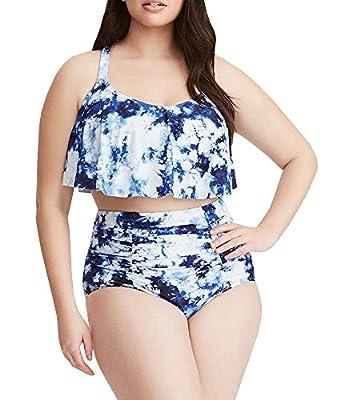 Sibylla Womens Plus Size Shoulder Straps Ruffle Bikini Set High Waisted Bathing Suits Swimwear Swimsuit