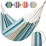 Brazilian Hammock Canvas Hammock Portable Blue Hammock with Carry Bag for Backyard, Porch, Outdoor and Indoor Use (Blue & Green Stripes)