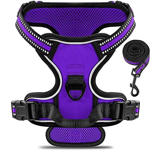voopet Dog Vest Harness, No Choke Front Lead Dog Reflective Harness No Pull Adjustable Dog Harness Soft Padded Pet Vest with Easy Control Handle for Heavy Duty Dogs (with 1pc Dog Leash)