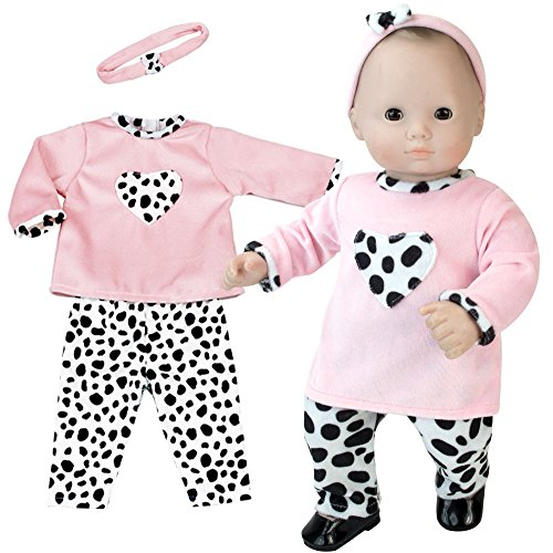 Sophias 15 inch Doll Clothing 3 Pc. Set of Pink and Dalmatian Print Fits 15 Inch American Girl Bitty Baby Dolls & More! Baby Doll Clothes Set with Dalmatian Print with Gift Bag| Doll Not Included