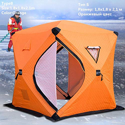 HLSX Ice Fishing Tent Three Layers Thickened Warm Cotton Camping 3-4 Person Tent Windproof Winter Fishing Ice Shelter,TypeB 1.8x1.8x2.1m