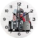 Print Round Wall Clock, 10 Inch Truck, American Flag Themed Semi 18 Wheeler Patriotic Transportation Industrial Quiet Desk Clock for Home,Office,School No31999