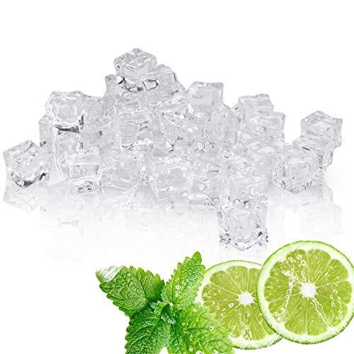 DURANTEY 60 Stück Acryl Eiswürfel Plastikeiswürfel Deko-Eiswürfel aus Acryl Crushed Ice Cube Quadratische Form Glas Kunststoff-Eiswürfel Acryl Ice Bar Dekorationen Gefülltes Glas (20 MM)