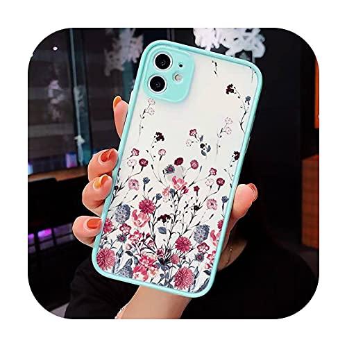 Moda lindas flores teléfono caso mate transparente para iPhone 7 8 11 12 s mini pro X XS XR MAX Plus cubierta funda-a2-iPhone7or8