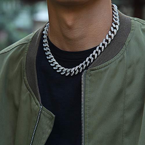 Jiaxingo, collana girocollo da uomo, stile hip hop, color oro, con zirconia cubica, lunghezza 13 mm, colore: argento