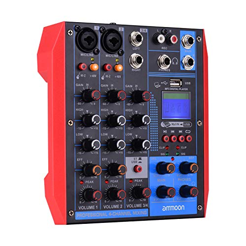 ammoon Portable 4-Channel Mixing Console Digital Audio Mixer +48V Phantom Power Supports BT/USB/MP3 Connection for Music Recording DJ Network Live Broadcast Karaoke