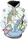 Ocean Plus Niña Unicornio Flamenco Impresión Digital Mangas Largas Sudaderas con Capucha Cumpleaños Deporte Piña para Niños Sport Camisa (M (Altura: 115-125cm), Guitarra Unicornio)