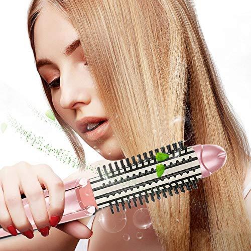 Rizador de Pelo, Mini herramienta de peinado de palillos para el cabello peine y alisador portátil con ajuste plegable Cepillo Anti-escaldad
