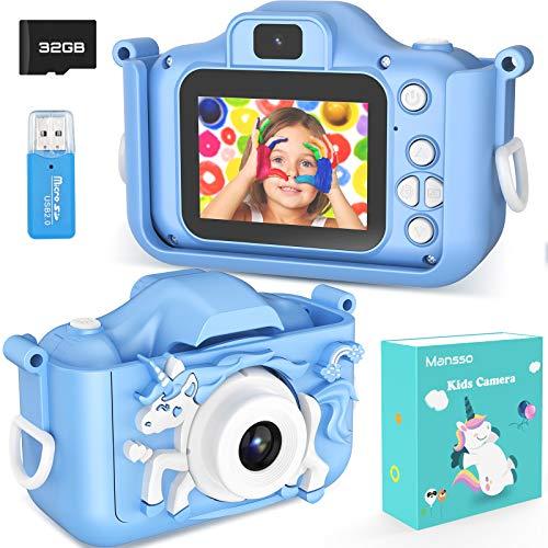 AOKEY Kinderkamera 20 Megapixel Digital Fotokamera 1080P HD Selfie Videokamera mit Dual Lens, 2 Inch Bildschirm, 32G TF Karte, Geschenk für 3-12 Jahre alte Jungen und Mädchen (Blau)