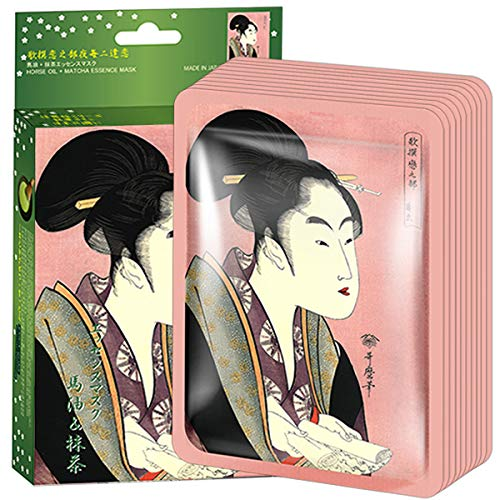 MITOMO 【JP005-A-0】Facial Face Mask Paper Sheet Japan Skin Care Smoothing Elastic Cleansing Whitening Moisturizing Horse oil+Matcha Essence Mask Nature made Freshly packed Japan Face Mask 【10 pieces】