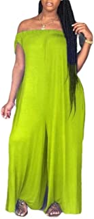 Women Sexy Off Shoulder Casual High Waist Wide Plus Size Jumpsuit Romper