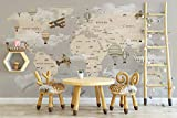 Murwall Kids Map Wallpaper For Child Beige World Map Wall Mural Vintage Map Wall Art Airplane and Hot Air...