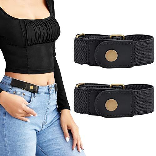 No Buckle Stretch Belt for Women/Men—2 Pack Elastic Invisible Belt for Jeans