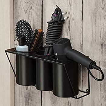 JackCubeDesign Hair Dryer Holder Hair Styling Product Care Tool Organizer Bath Supplies Accessories Tray Stand Storage Bathroom Steel Hair Dryer Holder Black  MK470B