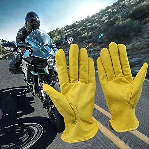 Houer 1 paar vintage geitenleer motorfiets fietshandschoenen geel universeel antislip scooter werk jacht handschoenen met lange vingers, XL