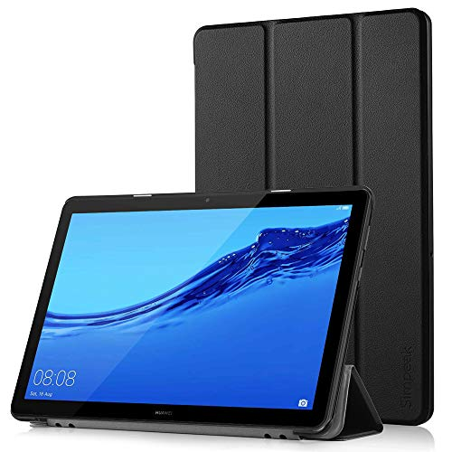Simpeak Funda Compatible con Huawei MediaPad T5 10 [5 años de garantía], Funda 10.1 Pulgadas Multi-Angulo Cubierta Folio con el Soporte Reposo Automático de Despertador, Negro