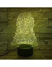 3D-illusionslampa LED nattlampa Game of Thrones USB beröringssensor barn barn gåva dekorativ Game of Thrones sovrum bordslampa