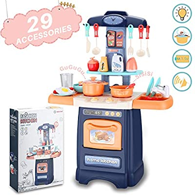 wodtoizi Kids Cooking Toys Set Kitchen Playset w Realistic Sounds and Lights Mini Chefs Pretend Play Dessert Food Assortment Set Party Role Play Toy Educational Birthday Toys for Boys Girls Children by SUNFICON