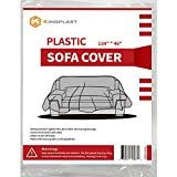 Kingplast Plastic Sofa Cover for Storage and Moving, 134'x 46' Dust-Proof Plastic Couch Cover for Indoor Outdoor Patio Furniture