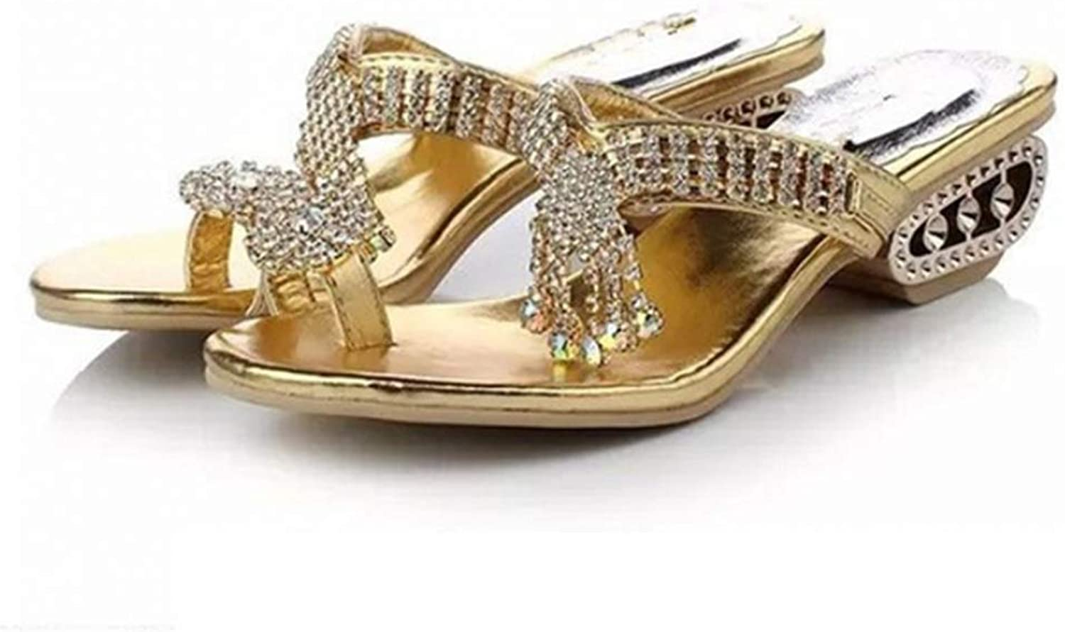 T-JULY Women's Sandals Breathable Hollow Out Low Heel Rhinestone Slippers Summer Ladies Fashion Sexy shoes