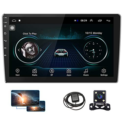 10 Inch Android Car Radio Double Din GPS Car Stereo Touchscreen Car Multimedia Receiver Bluetooth FM Radio Support WiFi Connect, Mirror Link, Reversing Image Input + Rear View Camera