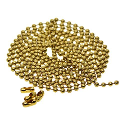 IPOTCH 2 Meter Kugelkette Linkkette aus Messing Rollo Kette Perlenkette Halsketten Dekoration