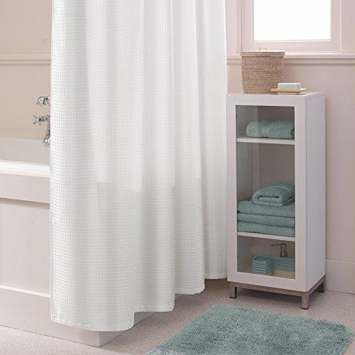 MAYTEX Textured Waffle Fabric Shower Curtain, White