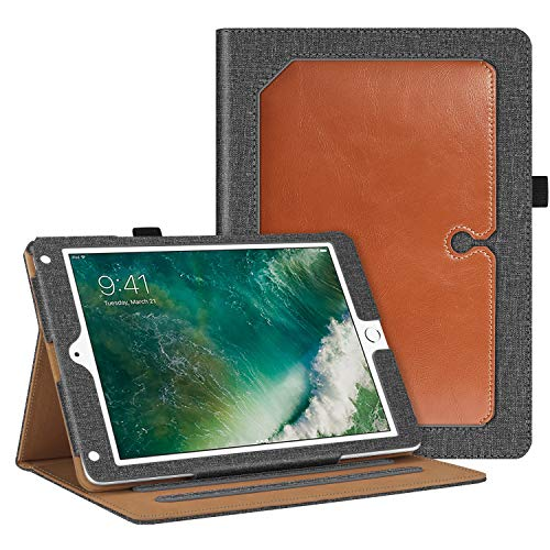 Fintie Case for iPad 9.7 2018 2017 / iPad Air 2 / iPad Air 1 - [Corner Protection] Multi-Angle Viewing Folio Cover w/Pocket, Auto Wake/Sleep for iPad 6th / 5th Generation, Gray/Brown