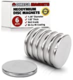 Strong Neodymium Disc Magnets (6 Pack) - 2X Stronger, 2X Thicker, Powerful, Small, Round, ...