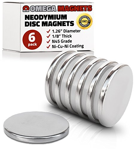 Strong Neodymium Disc Magnets (6 Pack) - 2X Stronger, 2X Thicker, Powerful, Small, Round, Rare Earth Magnets - N45 Industrial Strength NdFeB Magnet Set for Fridge, DIY, Crafts - 1.26' x 1/8'