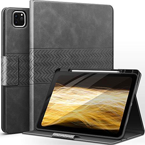 auaua iPad Pro 12.9 ケース 2021/2020/2018 ペン収納 PUレザー 手帳型 ひび割れ防止 耐衝撃 オートスリープ&スタンド機能付き 全面保護 iPad Pro 12.9 5/4/3世代兼用 (グレー)