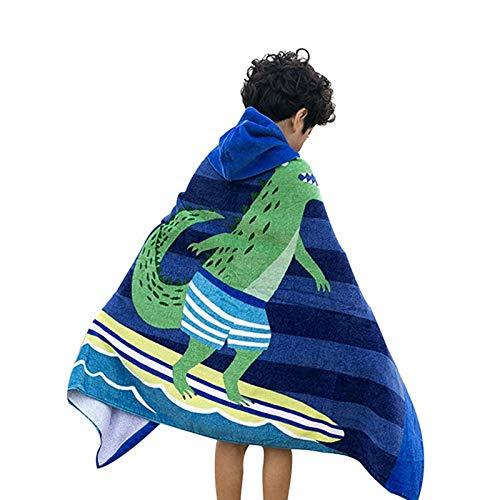 Comfysail 100% Baumwolle Kinder Kapuzen Poncho Handtuch Bade Badetuch für Jungen und Mädchen von 2-7 Jahren Strand 76 * 127cm (Marine)