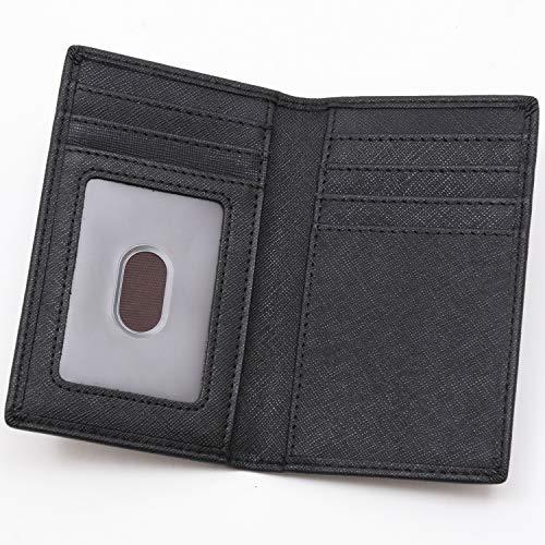 BLUE SINCERE カードケース メンズ 本革 大容量 薄型 磁気防止 二つ折り カード入れ パスケース カード9枚収納 クレジットカード 免許証 SLC4 (ロイヤルブラック)