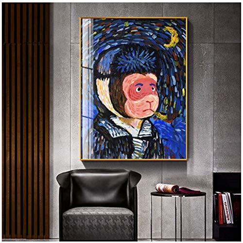 sjkkad afbeelding canvas schilderij AFFE Vincent Van Gogh modulaire aquarel muurkunst poster print moderne woonkamer wooncultuur 50 x 70 cm geen lijst
