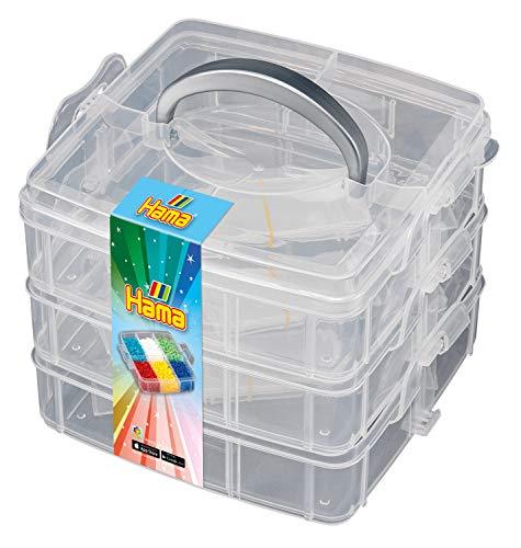 Hama Perlen 6700 Box zum Sortieren und Aufbewahren für Bügelperlen der Größe Mini, Midi oder Maxi, 3 Ebenen, kreativer Bastelspaß für Groß und Klein