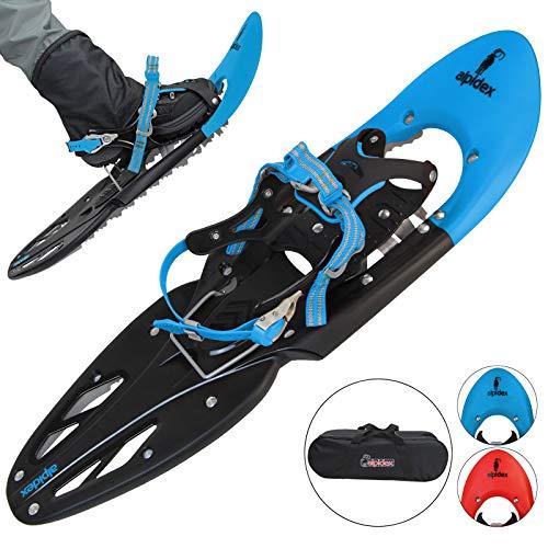 ALPIDEX Schneeschuhe 29 INCH Schuhgröße 38-46 bis 140 kg Steighilfe Tragetasche Optional Stöcke, Farbe:Blue ohne Stöcke