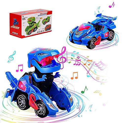 2021 Dinosaurios Juguetes Robot 2 in 1,Coche de Deformación de Dinosaurio con Luces de Colores LED ,Juguetes Niños 2 3 4 5 6 año,Construccion Juguete Dducativos Regalos para Niños Niñas Dinosaurio