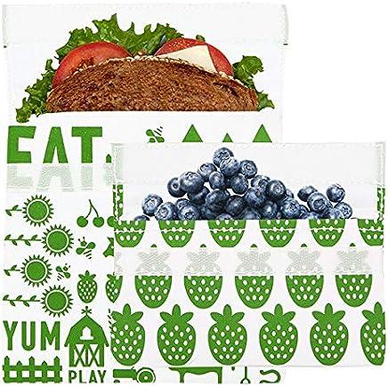 Lunchskins Reusable 2-Pack Bag Set, Green Farm (1 Sandwich + 1 Snack)