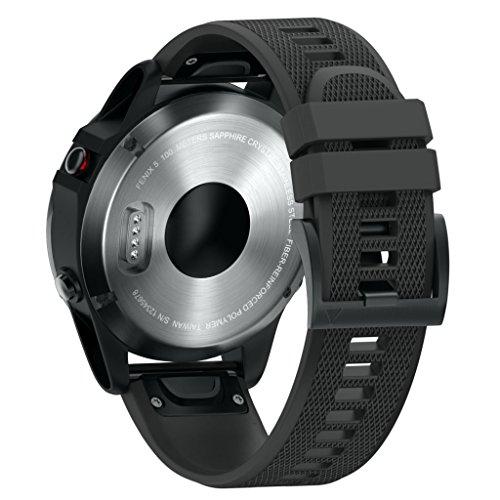 ANBEST Kompatibel mit Fenix 5/5 Plus/Fenix 6/Fenix 6 Pro Armband in Silikon, 22mm Schnelle Veröffentlichung Uhrenarmband für Forerunner 935/945/Approach S60/Quatix 5 Smart Watch(Schwarz)