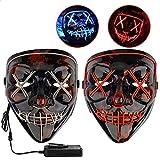 Icnow Maschera LED Halloween, 2pz Maschera Luminosa Divertente Filo El con 3 modalità Flash, Maschera...