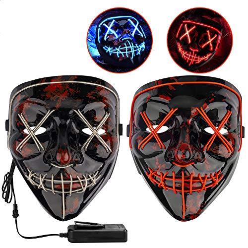 Icnow Maschera LED Halloween, 2pz Maschera Luminosa Divertente Filo El con 3 modalità Flash, Maschera Paura con Luci per Halloween Carnevale Natale Cosplay(Rosa/Blu)