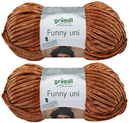 Gründl Funny Uni - Ovillo de lana suave (2 x 100 g, incluye instrucciones para un conejo Funny (26...