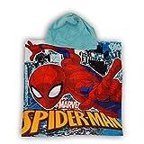 Asciugamano in cotone poncho con cappuccio, 55 x 110 cm, Spiderman, blu
