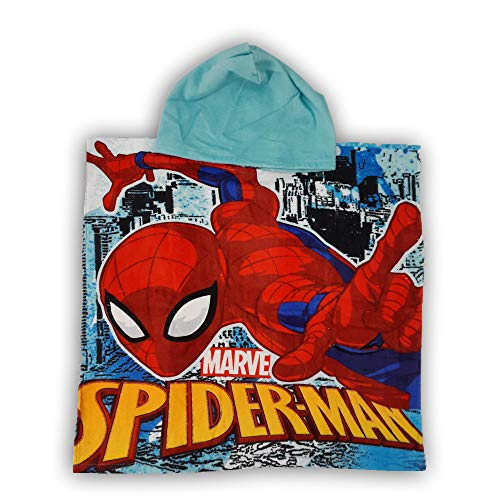 Baumwolle Handtuch Poncho mit Kapuze 55x110 cm Spiderman Blau