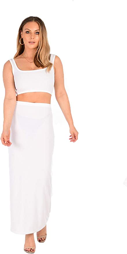 Ladies Womens Sleeveless Ribbed 2 Piece Set Long Pencil Skirt Co-Ord Suit Dress